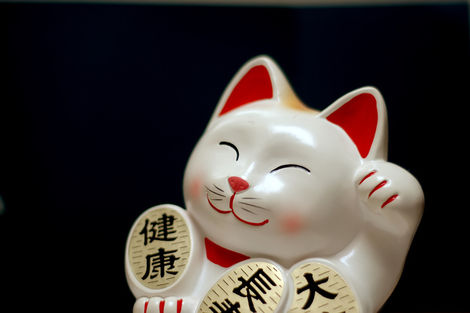 Maneki-neko, lucky cat, beckons good fortune to come to you.